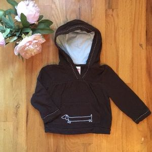 Adorable brown hoodie w/ embroidered Dachshund